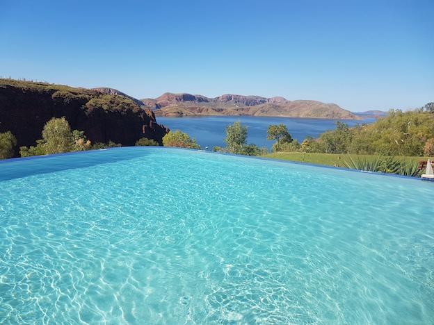 Infinitiy swimming pool overlooking Lake Argyle