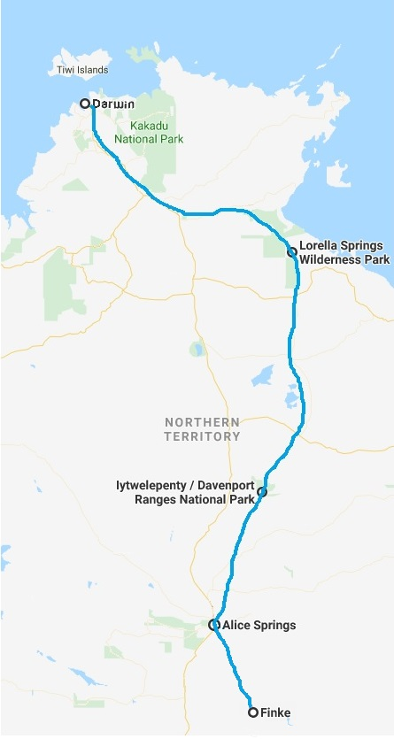 Map of the Northern Territory with a route from Darwin to Finke  via Lorella Springs Wilderness Park and Iytwelepenty / Davenport ranges