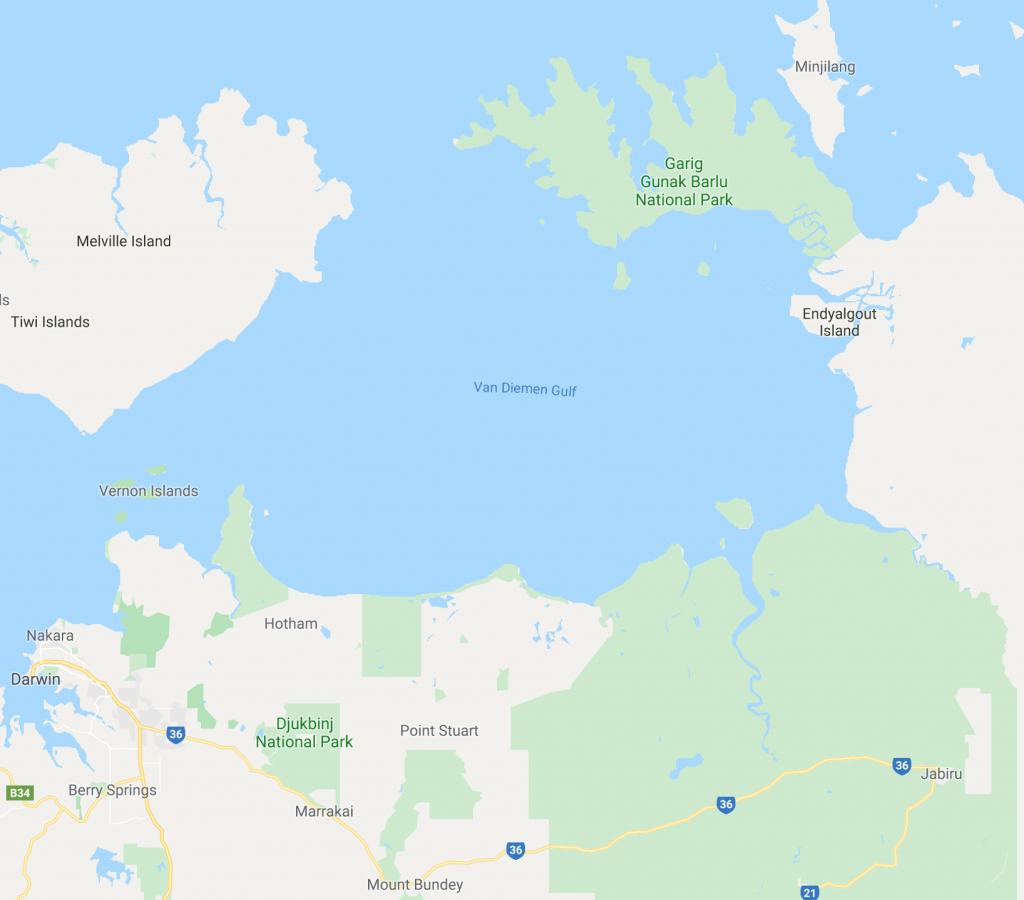 Map of the top end of the Northern Territory showing the Garig Gunak Barlu National Park in the Coburg peninsula