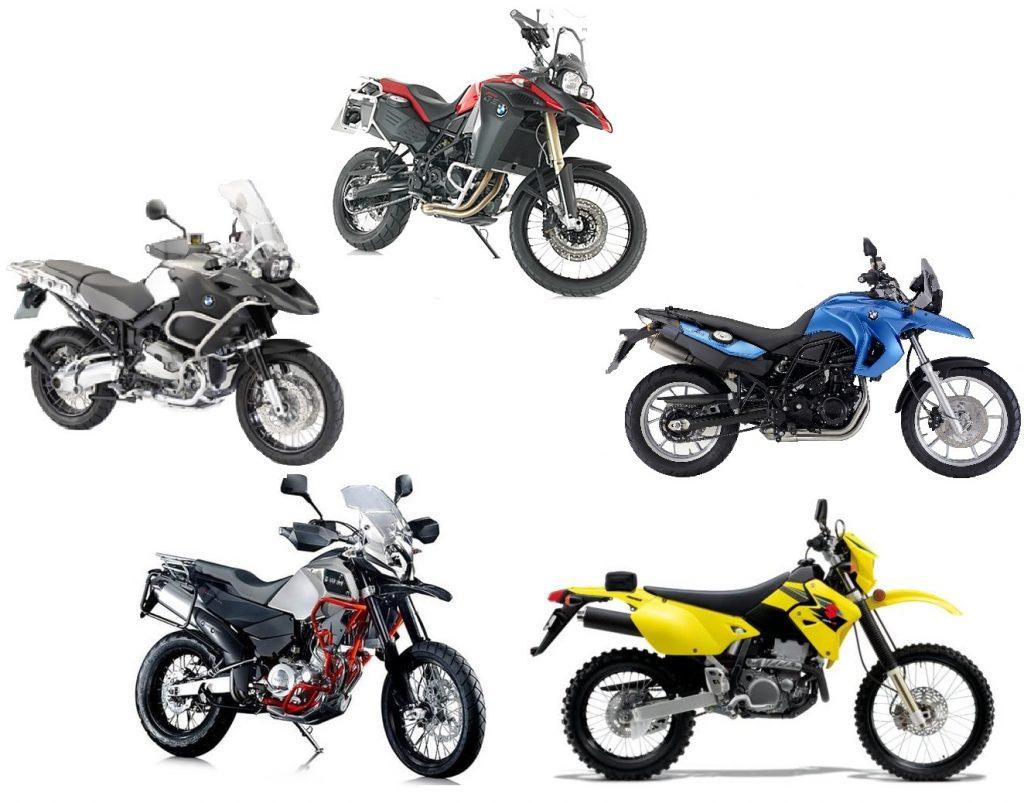 Motorbikes: BMW GSA 1200, BMW 800 GSA,  BMW GS, BMW 700GS, BMW 650 GS, Suzuki, SWM
